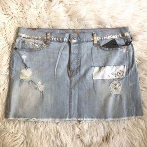 7FAM Distressed Embellished Denim Mini Skirt NWT
